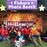 Fishers Farm Park Halloween Happy Hauntings staff in photo booth