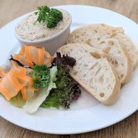 Fishers Farm Park Saddle Rooms Homemade smoked mackerel pate with sourdough bread