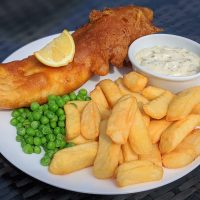 Fishers Farm Park Saddle Rooms Craft Saxon Beer Battered Cod with Chips