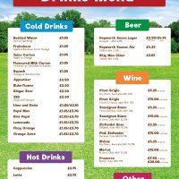 Fishers Farm Park Saddle Rooms Restaurant Drink Menu